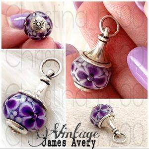RARE James Avery violet purple white flower finial charm HTF glass bead
